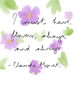 """""""I must have flowers, always, and always"""" quote on a background of a digital drawing of purple pansies"""