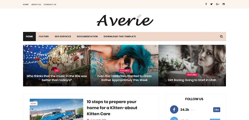 Averie Free Blogger Template