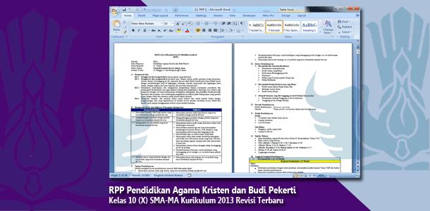 RPP Pendidikan Agama Kristen dan Budi Pekerti Kelas 10 (X) SMA-MA Kurikulum 2013 Revisi   Terbaru Tahun 2019-2020