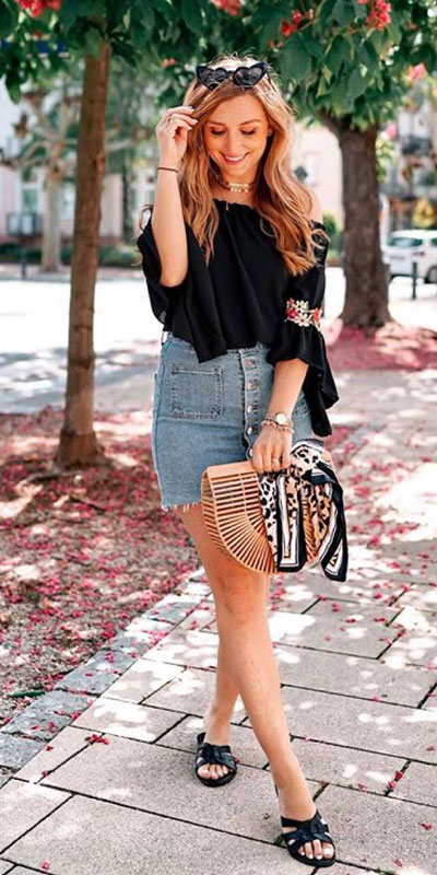 24 Cute Fall Outfits You Should Already Own. Clinch the waist with chunky belts and slip into shimmery satin and silk outfits, because these cute fall clothing are a staple this season. Fall Fashion via higiggle.com | #denim #falloutfits #skirt #floral