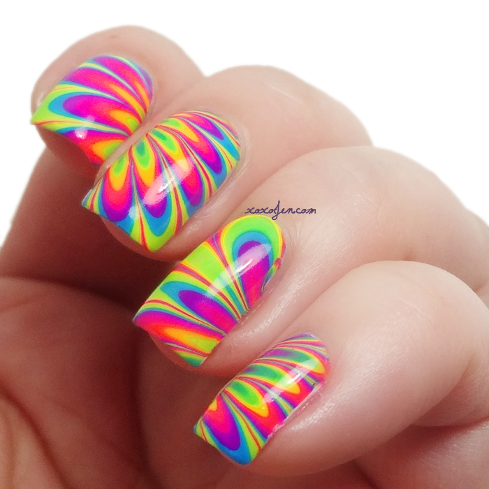 xoxoJen's swatch of Pipe Dream Polish Neon Water Marble