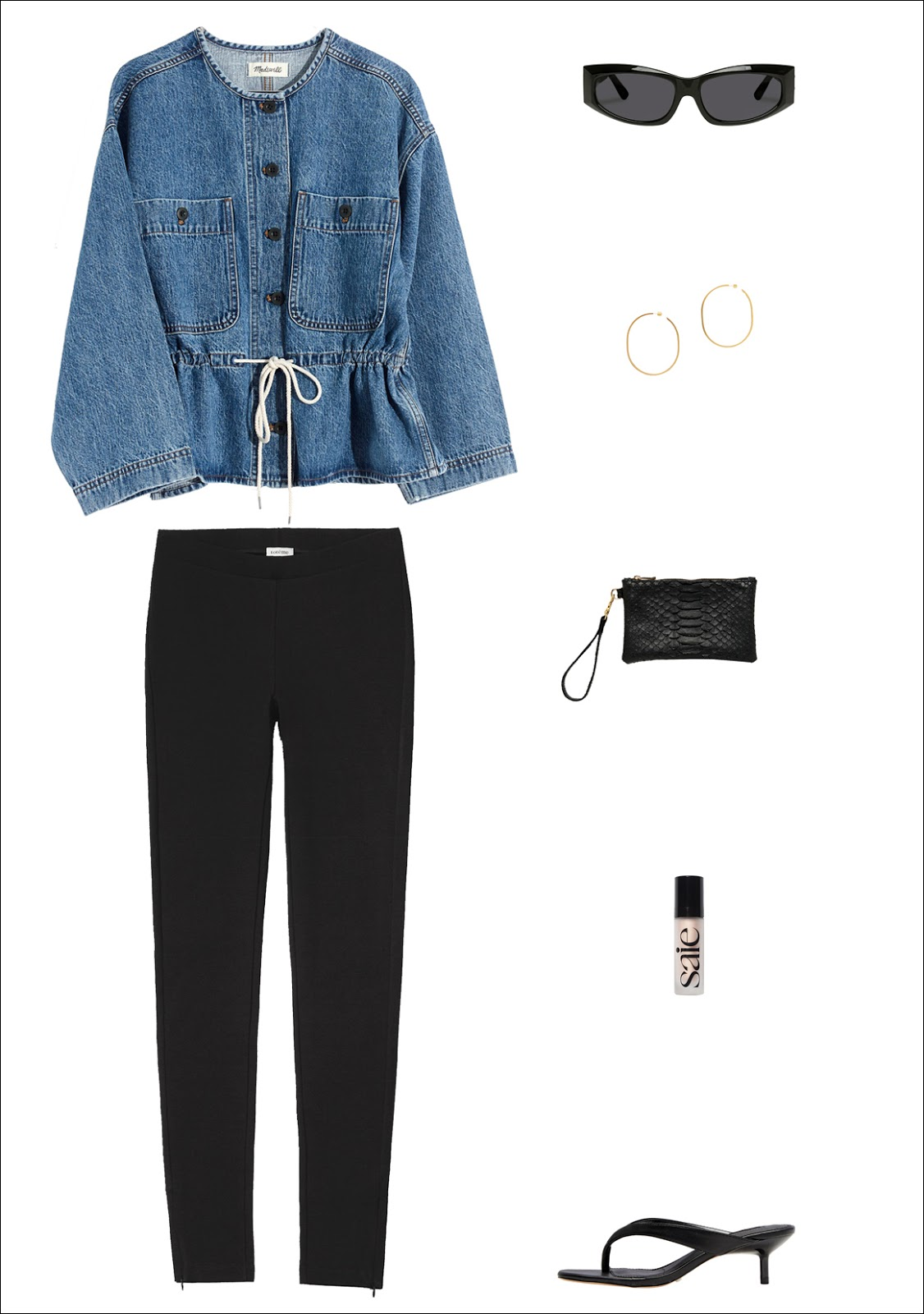 Transitional Fall Outfit Idea —cool denim jacket, '90s-inspired sunglasses, thin hoop earrings, a chic wristlet clutch, elevated Toteme leggings, and flip-flop heels
