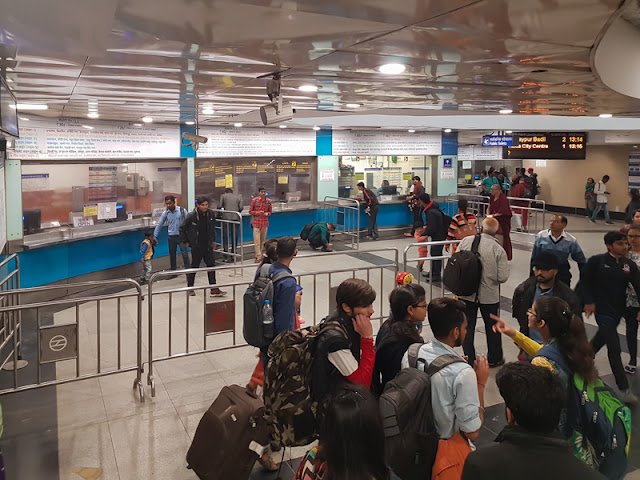 New Delhi Metro Station with People in India