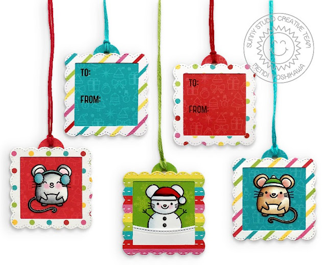 Sunny Studio Stamps Mini Mouse Gift Tags by Mendi Yoshikawa (using Merry Mice Stamps, Scalloped Square Tag dies and Very Merry 6x6 Paper)