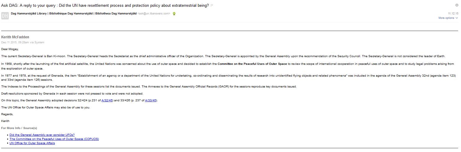 Carta supuestamente respondida por una bibliotecaria de las Naciones Unidas al supuesto extraterrestre Mogay. Esta hipotética entidad alienígena envió un informe a MUFON, adjuntando esta carta en un intento de que su informe sea algo