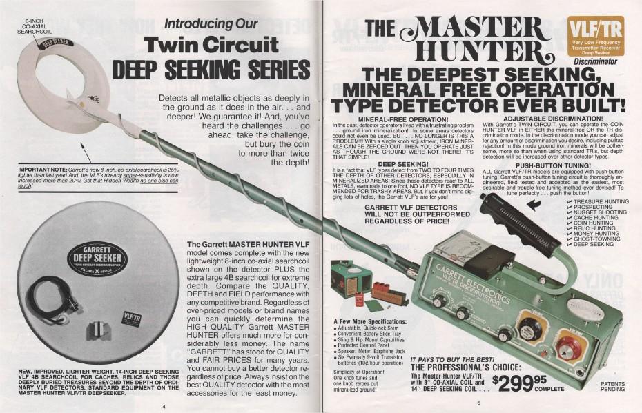 Garrett Vlf Vintage Detector Metal Hunter Tr Master