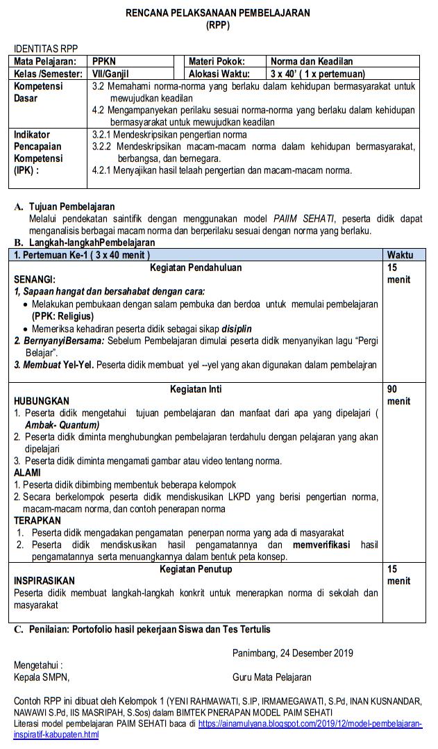 RPP 1 (Satu) Halaman - Contoh RPP 3 (Tiga) Komponen
