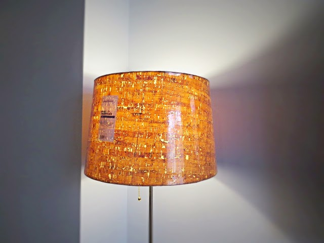 Ikea lamp non ikea shade problem solved in 3 flipping the flip damn super duper cool cork lampshade aloadofball Images