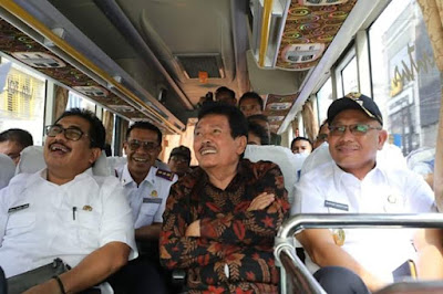 Akhyar Nasution MSi menguji coba Lintasan Transportasi Massal Skema Buy The Service (BTS),
