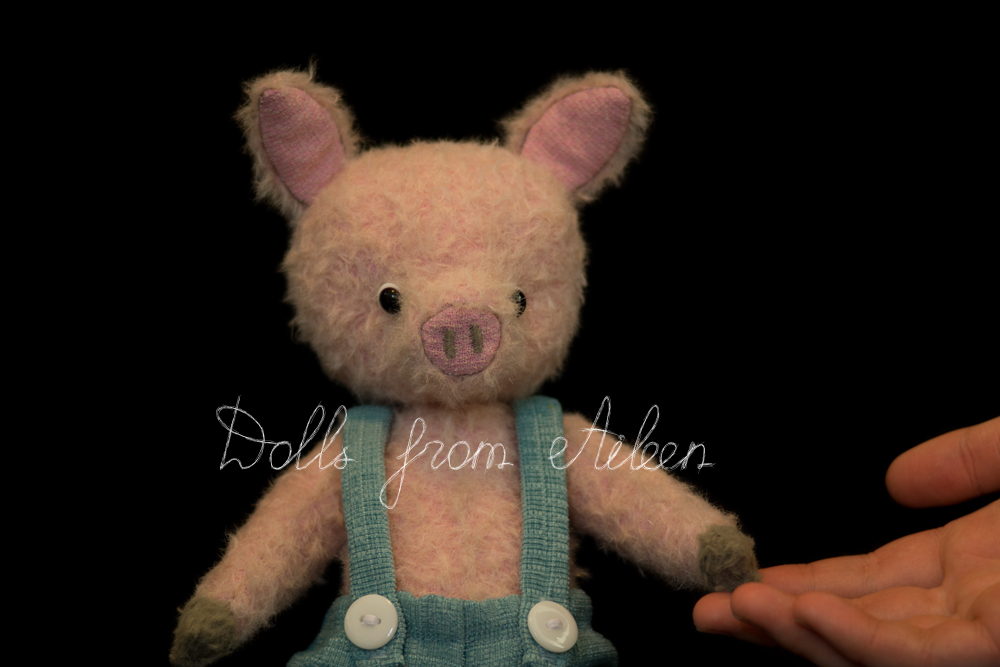 OOAK artist teddy pig with human hand