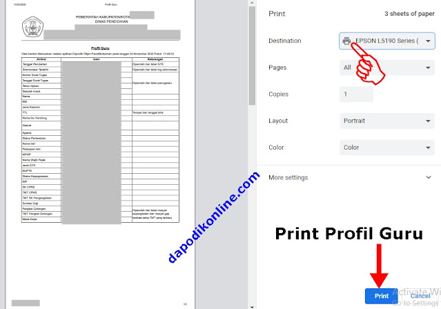 Cara Print Profil Guru di Dapodik