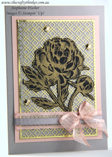 #thecraftythinker #prizedpeony #cardmaking #stampinup #forevergold , Prized Peony Bundle, Forever Gold Laser Cut SDSP, Stampin' Up Demonstrator, Stephanie Fischer, Sydney NSW