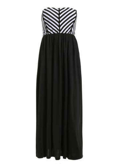 Strapless Striped Maxi Evening Dress - White And Black Rosegal
