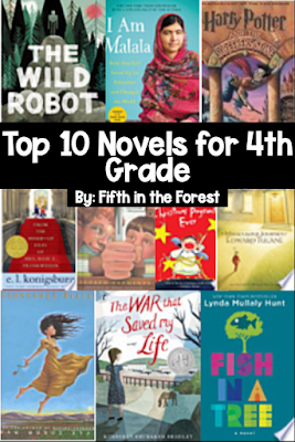 """Pin Image titled 'Top 10 Novels for Fourth Grade"""" the image features covers from 10 read aloud books on a fourth grade level"""