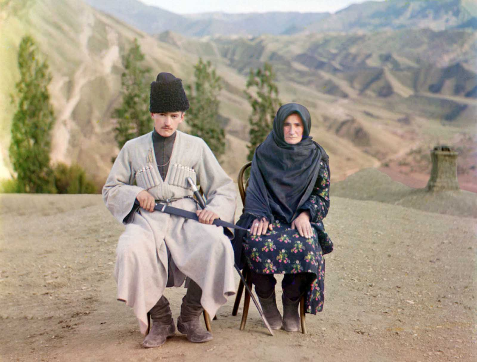 A man and woman pose in Dagestan, ca. 1910.