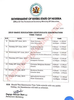 Rivers State Ministry of Education: 2019 Junior WAEC (BECE) Timetable