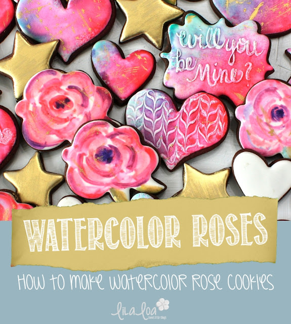 Valentine's Day watercolor rose cookies
