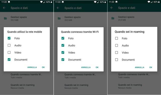 impostazioni download automatico media in funzione della connessione