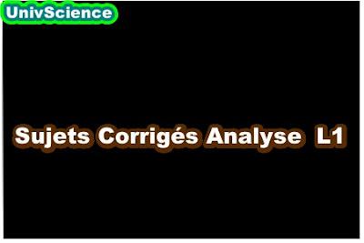 Sujets Corrigés Analyse L1.