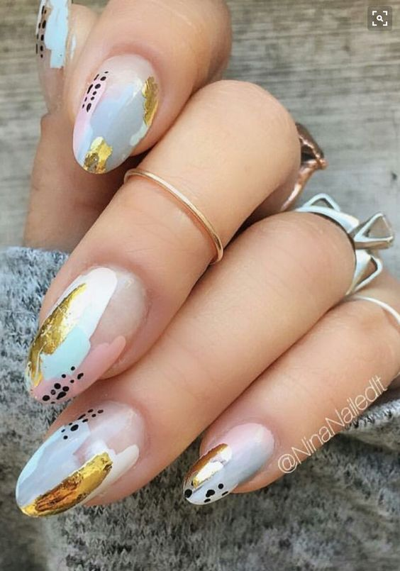 trendy nail art design idea for summer