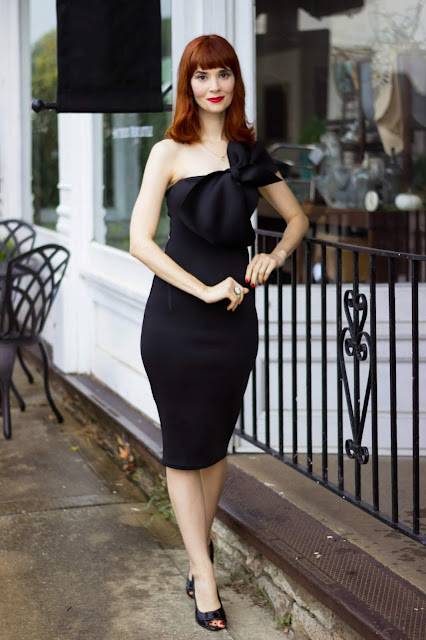Black Bow One Shoulder Midi Dress - Stacey from FemmeLuxeFinery.co.uk