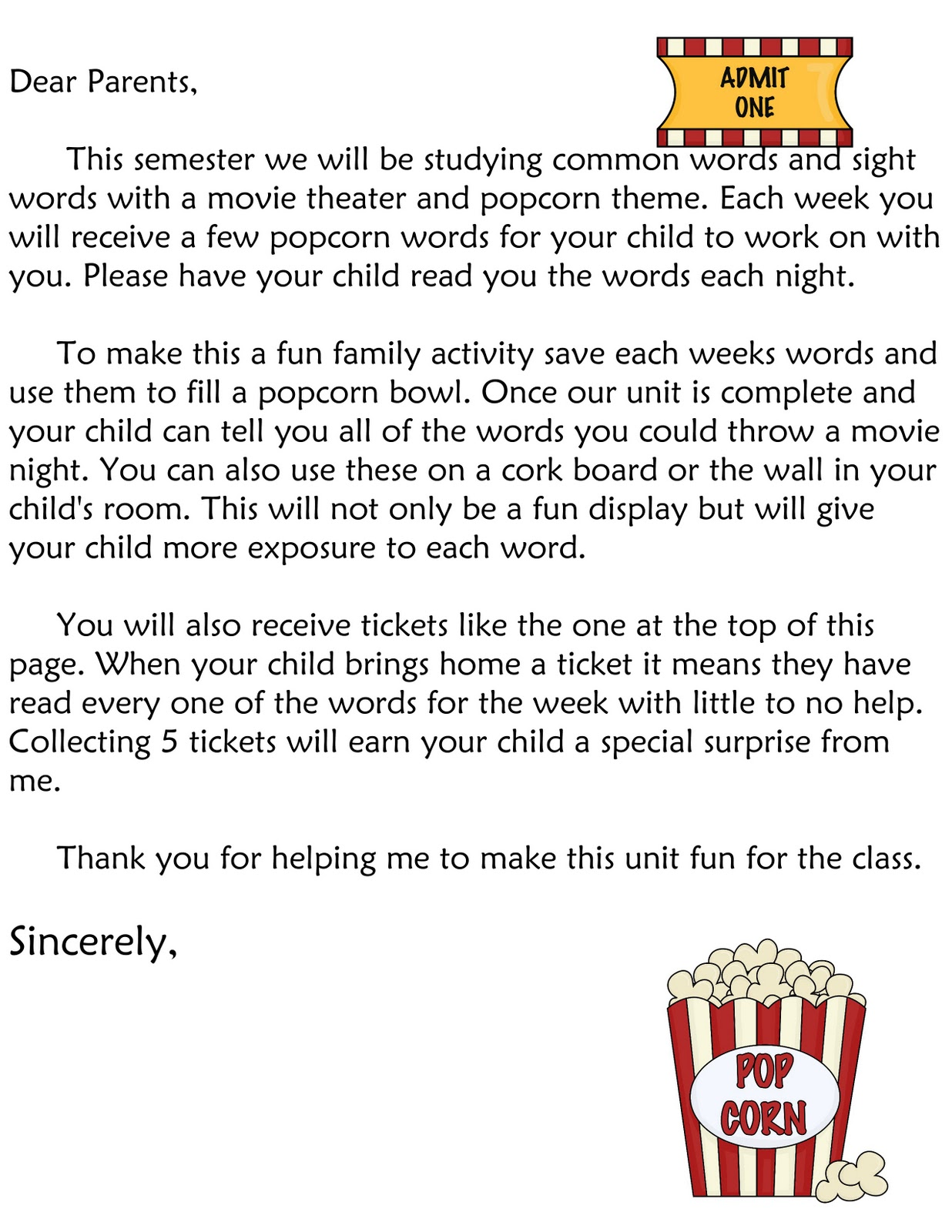 Word It Book Activity  Thank You Letter