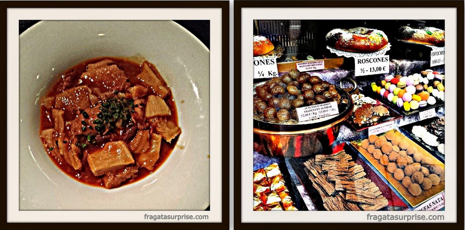 Callos a la madrileña, prato típico de Madri, e doces da confeitaria La Mallorquina