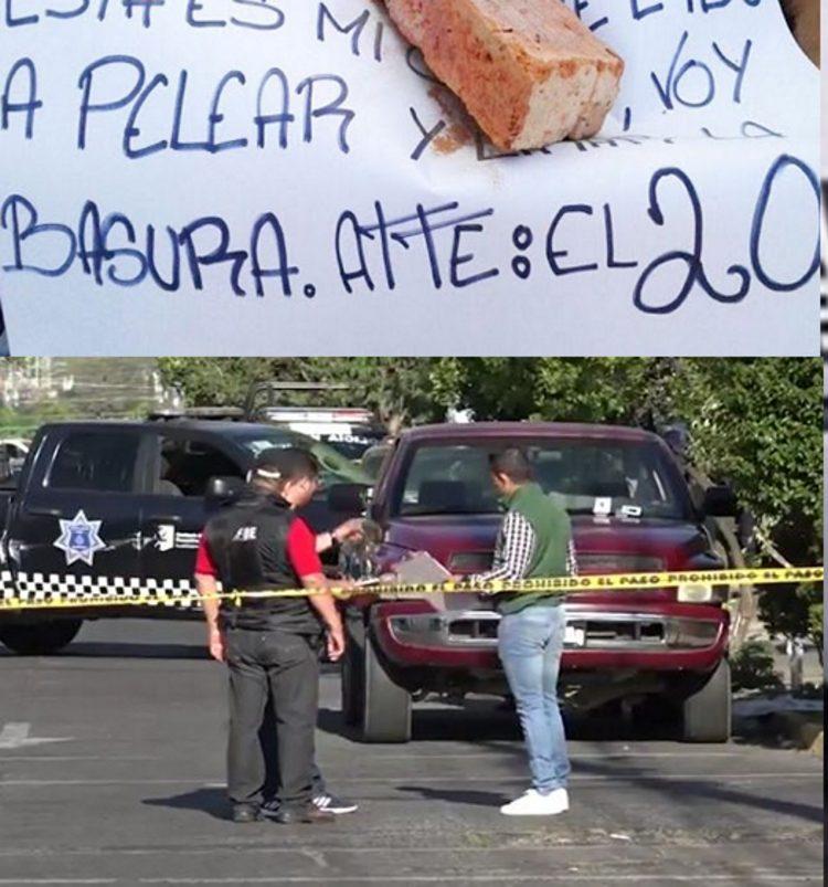 """Fotos, Abandonan ocho ejecutados con narcomensaje de """"El 20"""" en Guadalajara"""