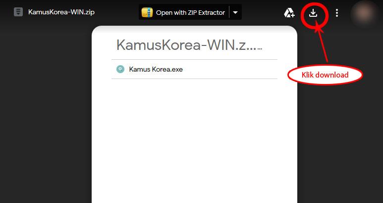 langkah 1 download kamus korea untuk pc dari google drive