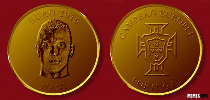 Meme com Medalha Comemorativa da Conquista do Euro 2016 pela Seleção Nacional de Portugal – Nani