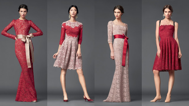 Ruby Red And Blush Pink Lace Royally Collide In Beautiful Tail Dresseermaid Gowns All Wred Up By Wide Satin Bows