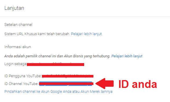 ID channel youtube anda