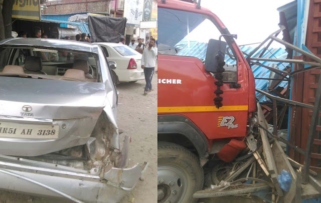fast-truck-hit-car-and-entared-into-wine-shop-at-i-p-colony-tigaon-faridabad