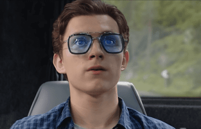Peter Parker (Tom Holland) Wearing Tony Stark's Stark Industries Eyewear in Spider-Man Far From Home