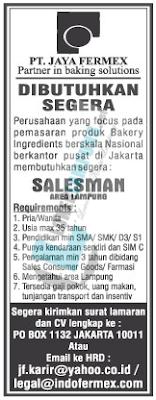 Lowongan Kerja di PT. Jaya Fermex Bandar Lampung Terbaru Juli 2016