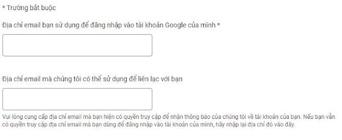 Không thể truy cập vào sản phẩm của Google