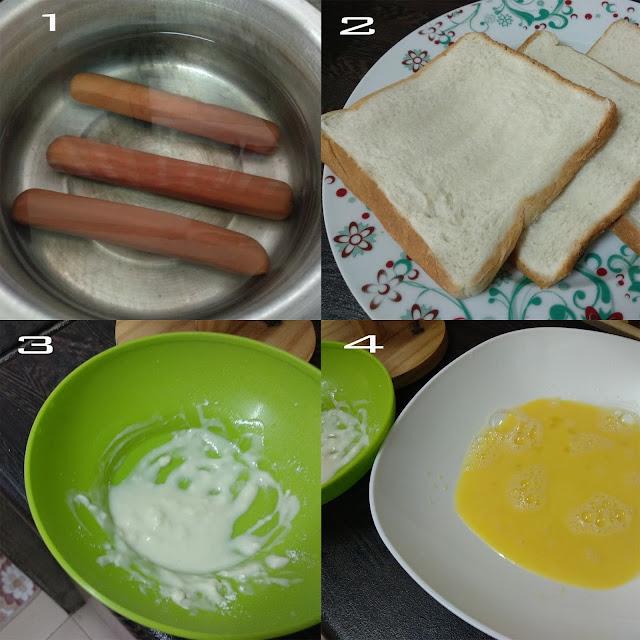 roti sosej cheese gulung, cara sediakan roti sosej cheese gulung, hotdog cheese roll,