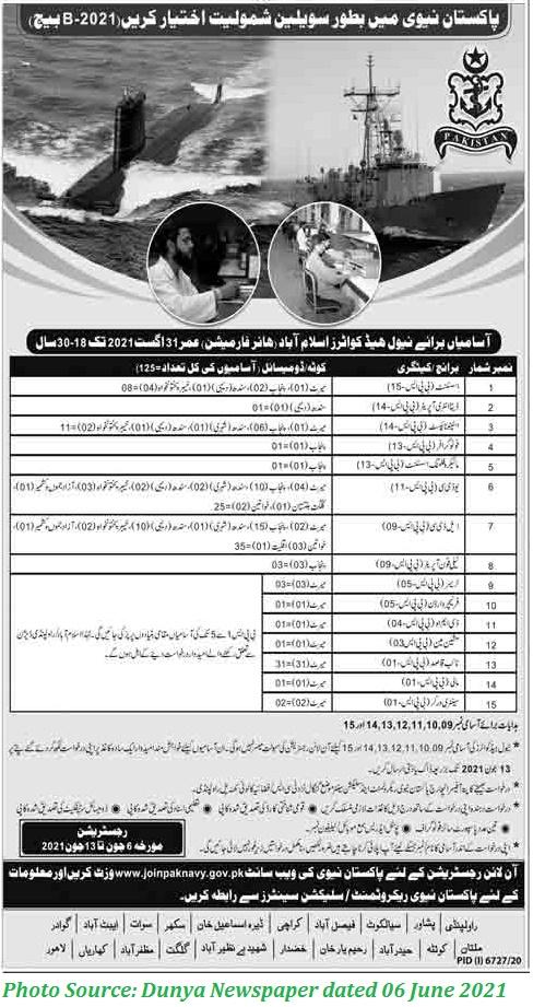 Join Pak Navy as Civilian 2021 Apply Online for Latest Pak Navy Civilian Jobs 2021 Navel Headquarter