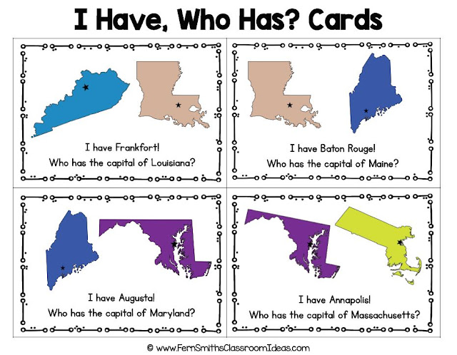 100 I Have, Who Has? United States of America - State Capitals Task Cards, Teacher Directions and a Teacher Answer Key by Fern Smith's Classroom Ideas Available for You at TeachersPayTeachers.