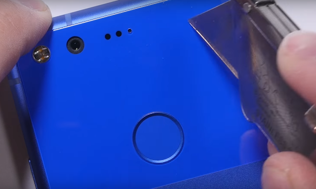 Very Blue Google Pixel Goes through burn, bend and scratch test