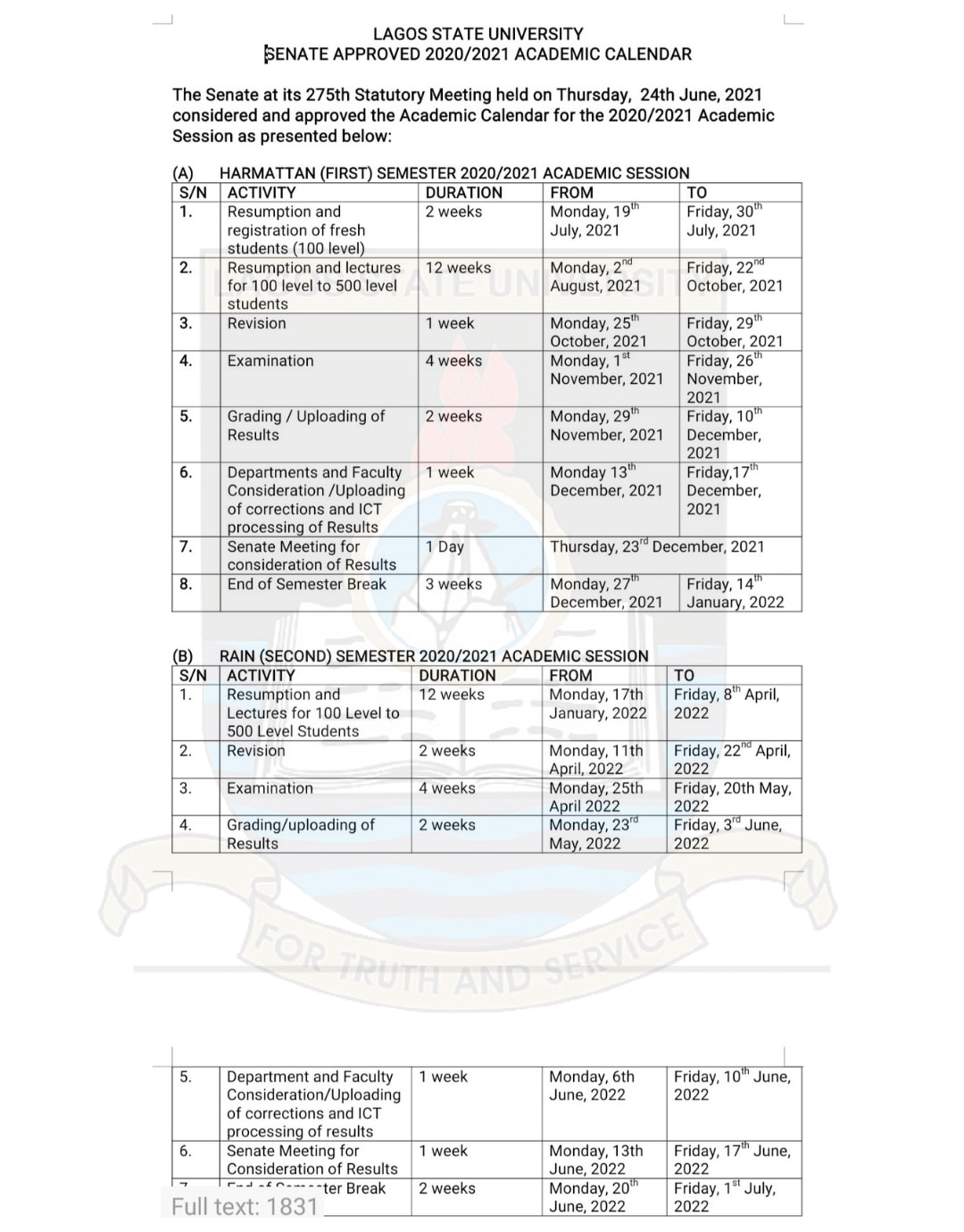 LASU Academic Calendar Schedule 2020/2021 [APPROVED]