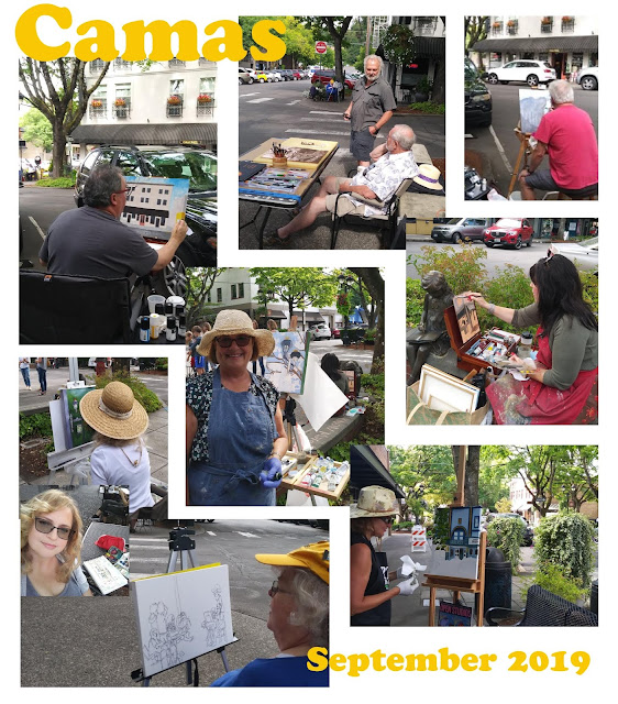 Artists are painting in downtown Camas, state of Washington, Plein-Air Day