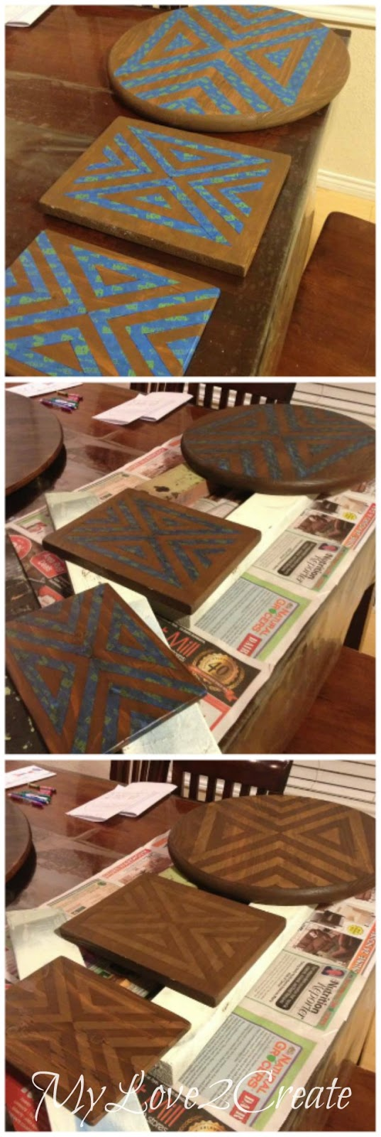 staining over taped pattern with darker stain to create two toned effect