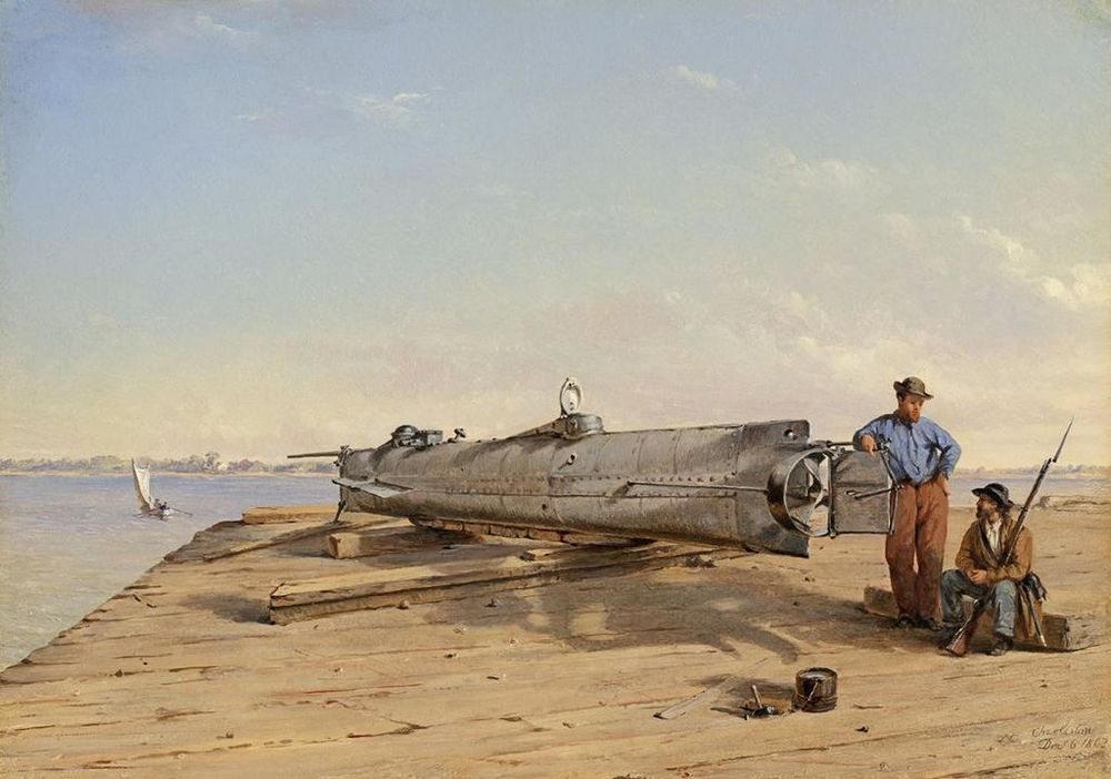 1864 painting of H. L. Hunley by Conrad Wise Chapman
