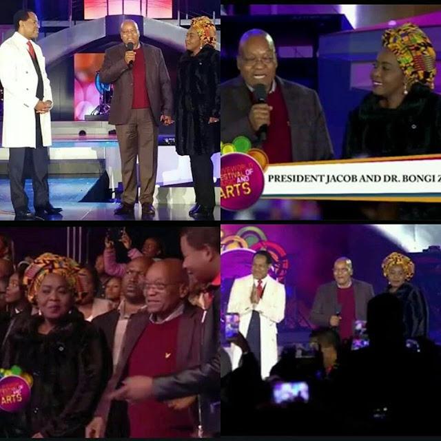 Pastor Chris Oyakhilome welcomes SA President Zuma & wife to his church event