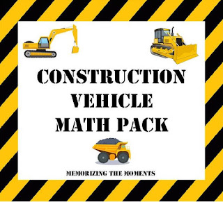Free Printable Construction Vehicle Math Activities for Early Elementary