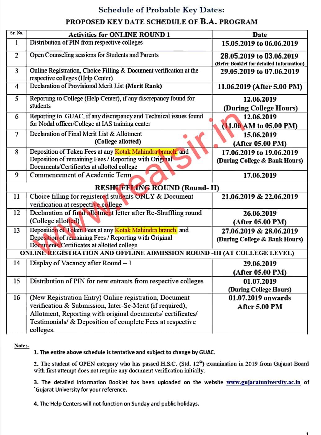 B.A. - 2019 College Allotment List [Round-1] Declared - Gujarat University