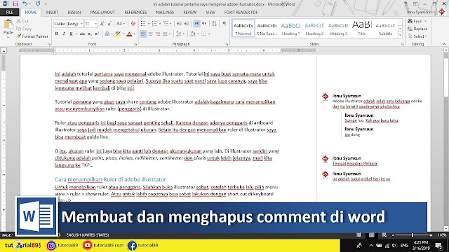 Cara membuat dan menghapus comment di document Microsoft word + video