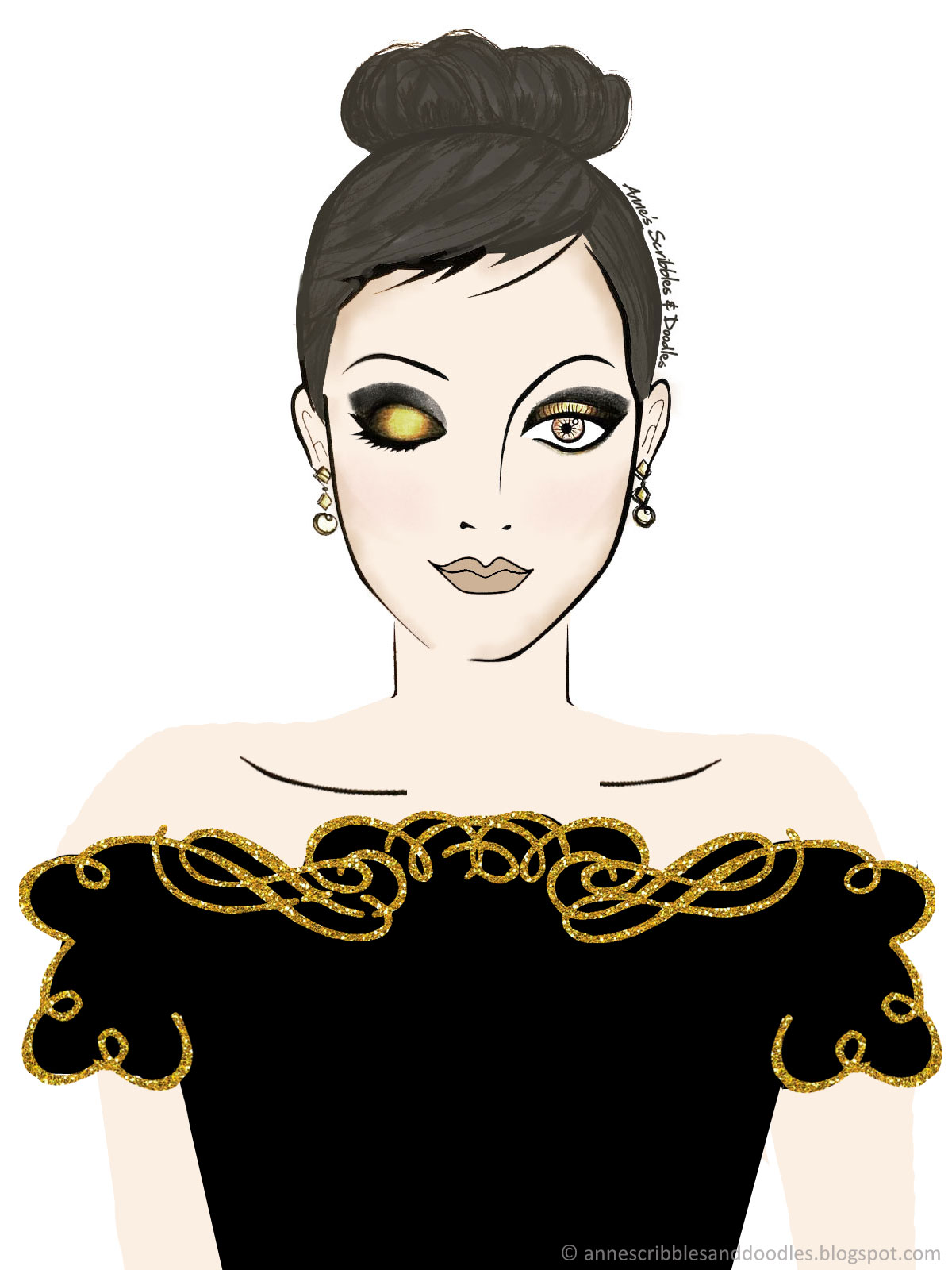 Sephora: Gold Glam Makeup Look | Anne's Scribbles and Doodles