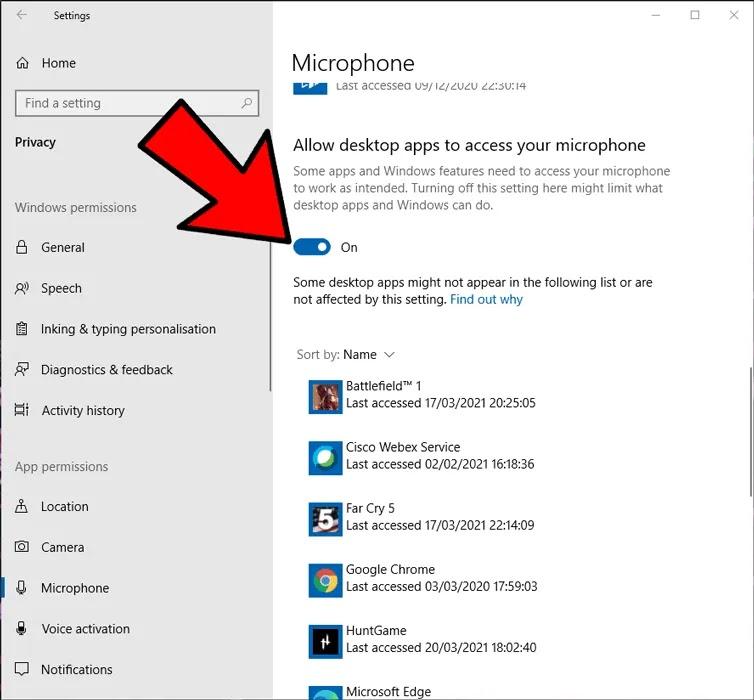 الميكروفون لا يعمل Windows يسمح بتطبيقات سطح المكتب 2